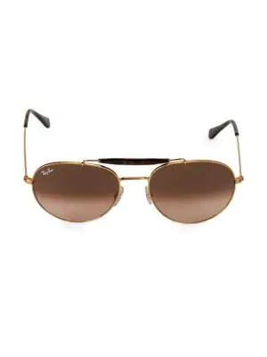 Ray Ban 55mm Browline Aviator Sunglasses In Pink Brown