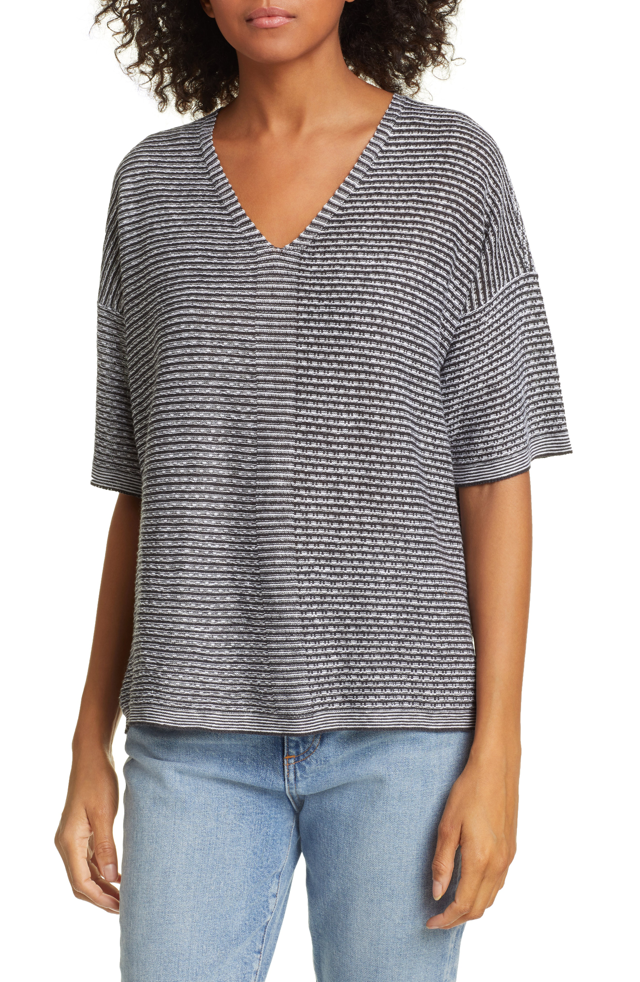 Eileen Fisher Organic Linen Jacquard Sweater In Ivory