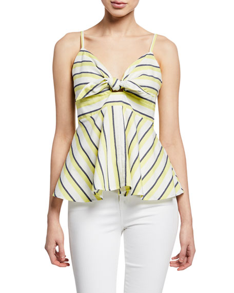 f60e85cfa846d9 Cupcakes And Cashmere Stripe Tie Front Sleeveless Top In Cintron Yellow