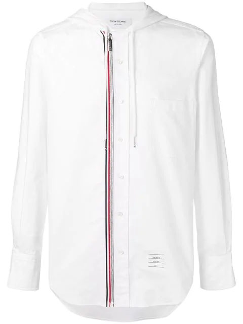 Thom Browne Hooded Zip-front Oxford Shirt In White