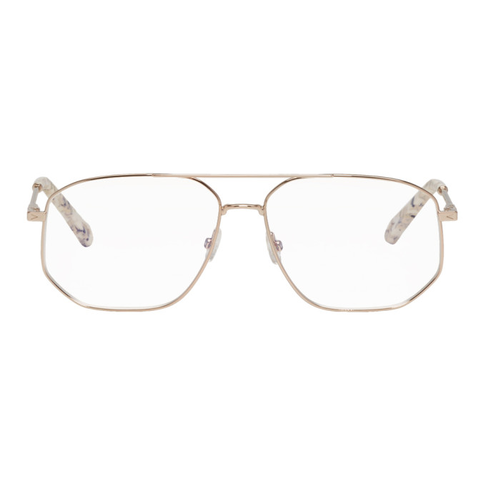 3cc5443140121 ChloÉ Chloe Rose Gold And White Sqaure Aviator Glasses In 780 Rose ...