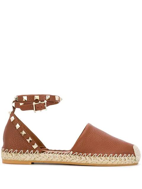 Valentino Garavani Valentino - Rockstud Wraparound Leather Espadrille Flats - Womens - Tan In Brown