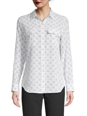 d9c65279fd72f Equipment Slim Signature Star-Print Silk Shirt In Bright White ...