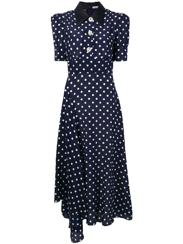 Alessandra Rich Crystal-Embellished Polka-Dot Silk-Georgette Maxi Dress In Blue