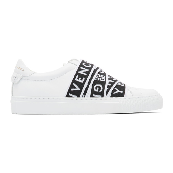 Givenchy Urban Street Logo-jacquard And Leather Slip-on Sneakers In 116 White