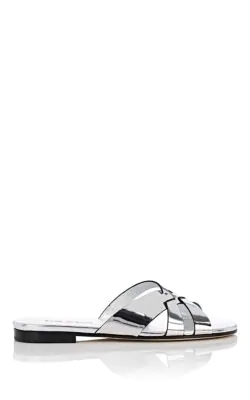 Prada Metallic Leather Slide Sandals In Silver