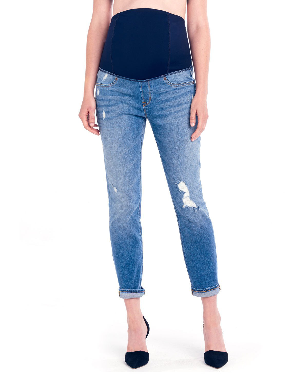 0d37ea6e3e6470 Ingrid & Isabel Maternity Mia Boyfriend Denim Jeans With Crossover Panel In  Medium Wash