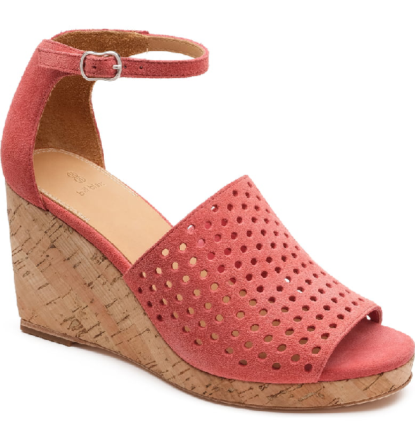 aa5a3dcb33e Zelda Perforated Wedge Sandals in Coral