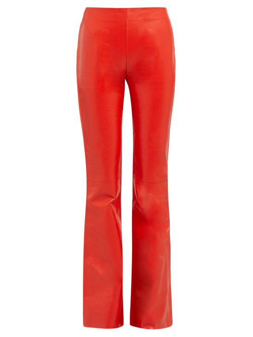 Acne Studios - Leather Front Bootcut Trousers - Womens - Red