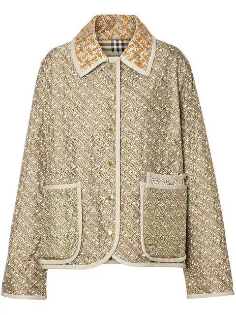 Burberry Monogram-Print Single-Breasted Quilted Silk Jacket In Neutrals