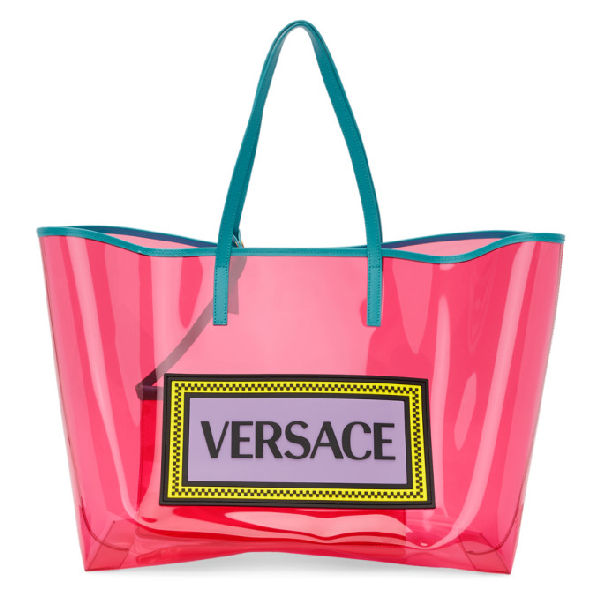 c519c0c96aa Versace 90S Vintage Logo Vinyl Soft Tote In Pink   ModeSens