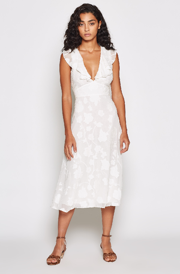 Joie Adella Floral Embroidered Dress In Porcelain