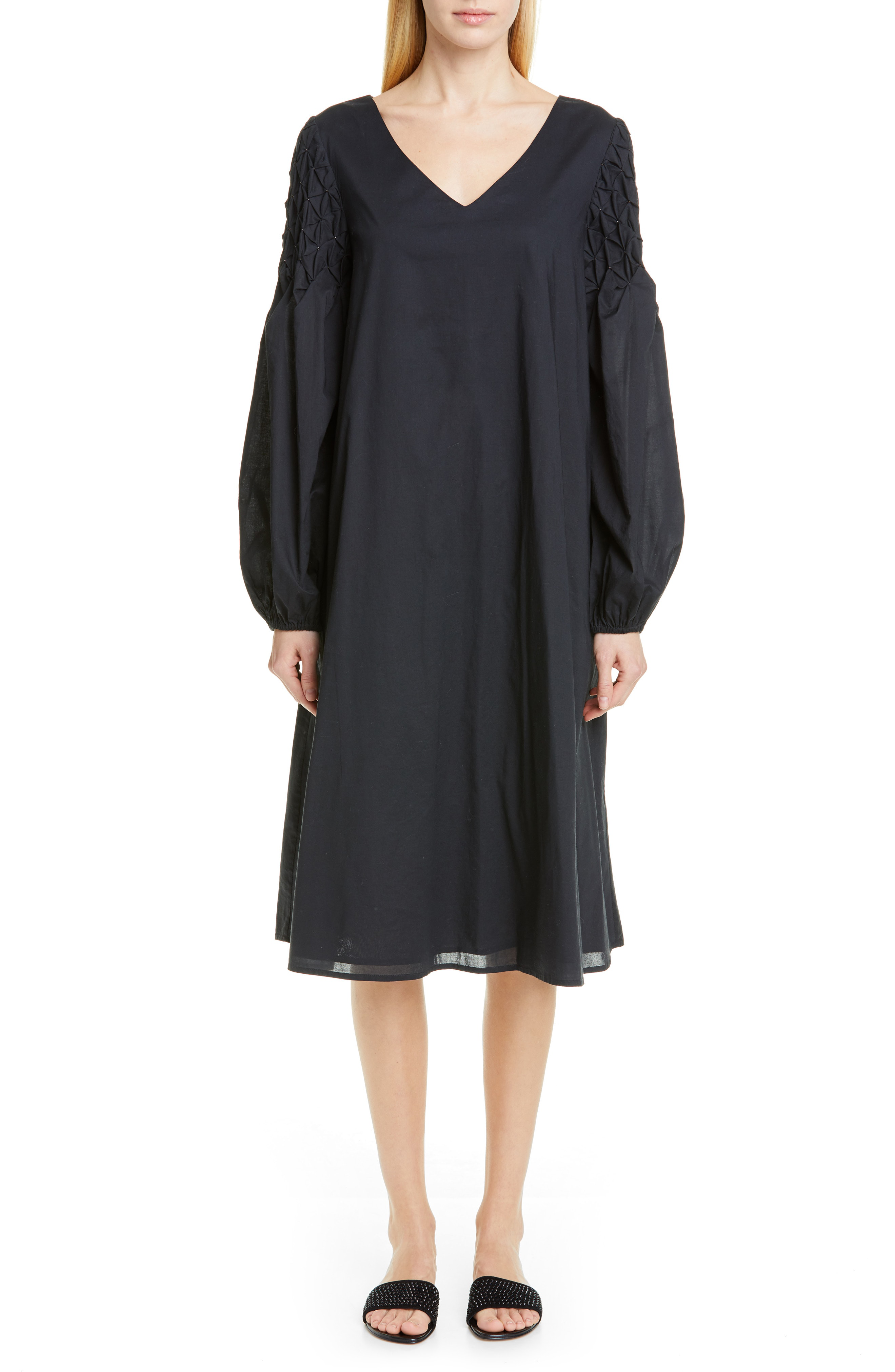 60c63fc719382e Merlette Balboa Smocked Sleeve Midi Dress In Black/ Gold