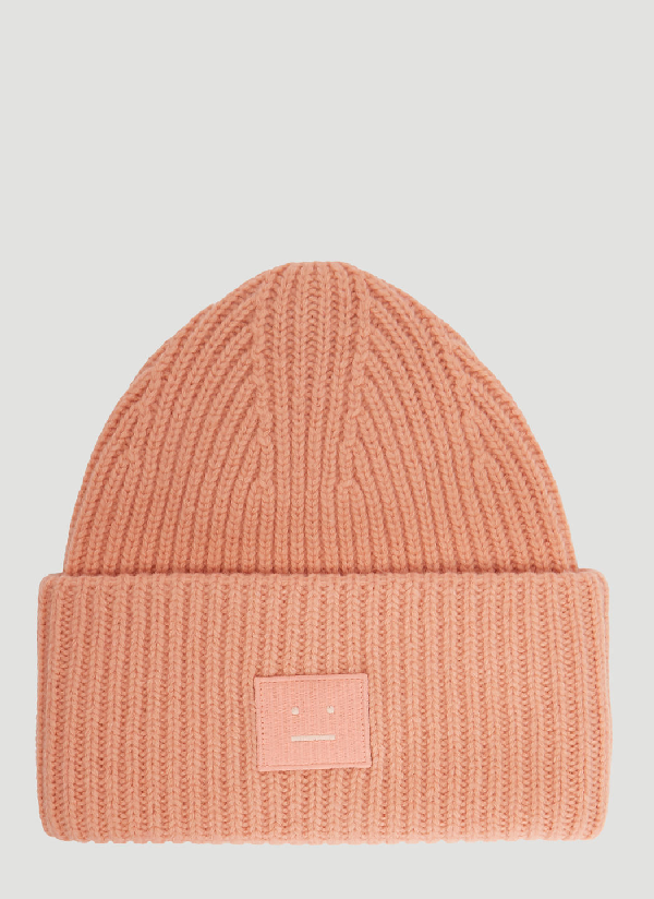 1600de6de41 Acne Studios Pansy S Face Ribbed-Knit Beanie Hat In Light Pink ...