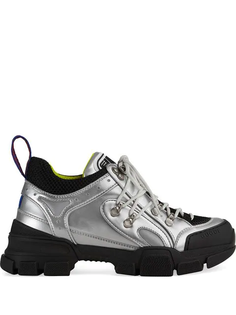 Gucci Flashtrek Metallic Leather And Mesh Sneakers In Silver