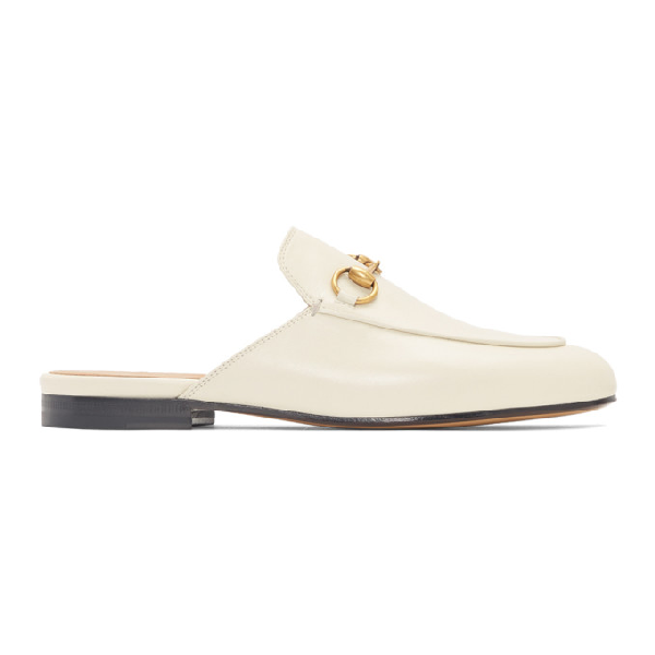 Gucci Princetown Horsebit-detailed Leather Slippers In 9022 White