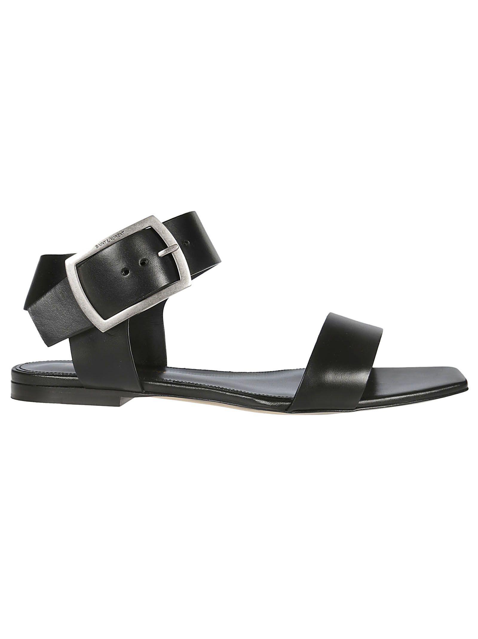Saint Laurent Flat Sandals In Black