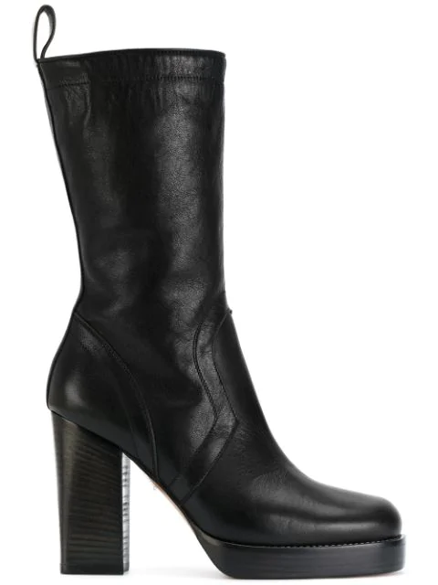 Rick Owens Black Leather Ankle Boots In 09