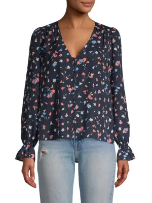 Joie Floral-print V-neck Top In Midnight