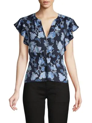 Joie Floral-print Ruffle-sleeve Top In Midnight
