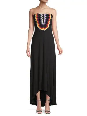 779165bb949 Ramy Brook Dillon Embroidered Strapless Maxi Dress In Black Multi