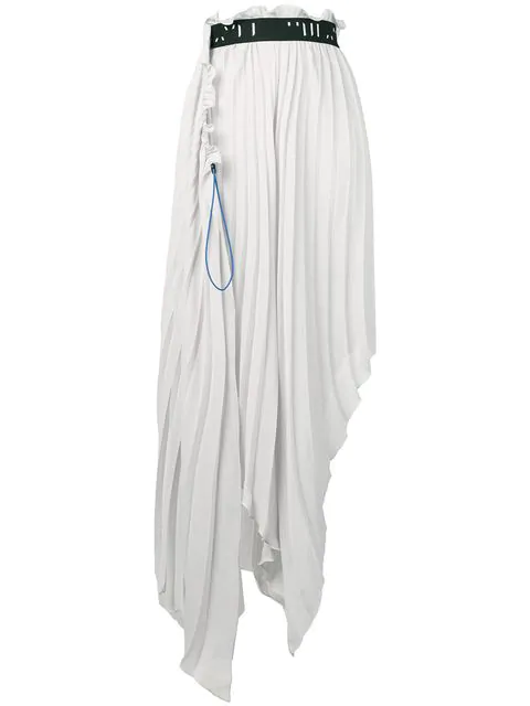 Ben Taverniti Unravel Project Pleated Asymmetric Skirt In Grey