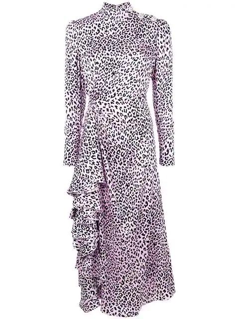Alessandra Rich Leopard Print Midi Dress In Pink