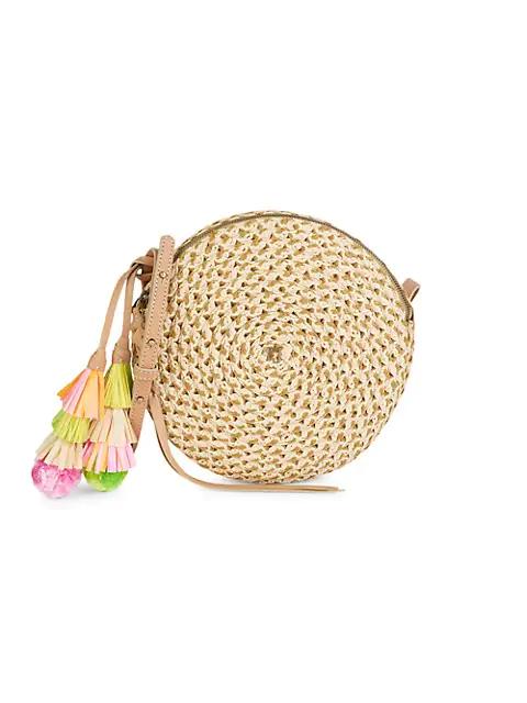 Eric Javits Squishee Bali Raffia Circle Crossbody Bag In Peanut Mix