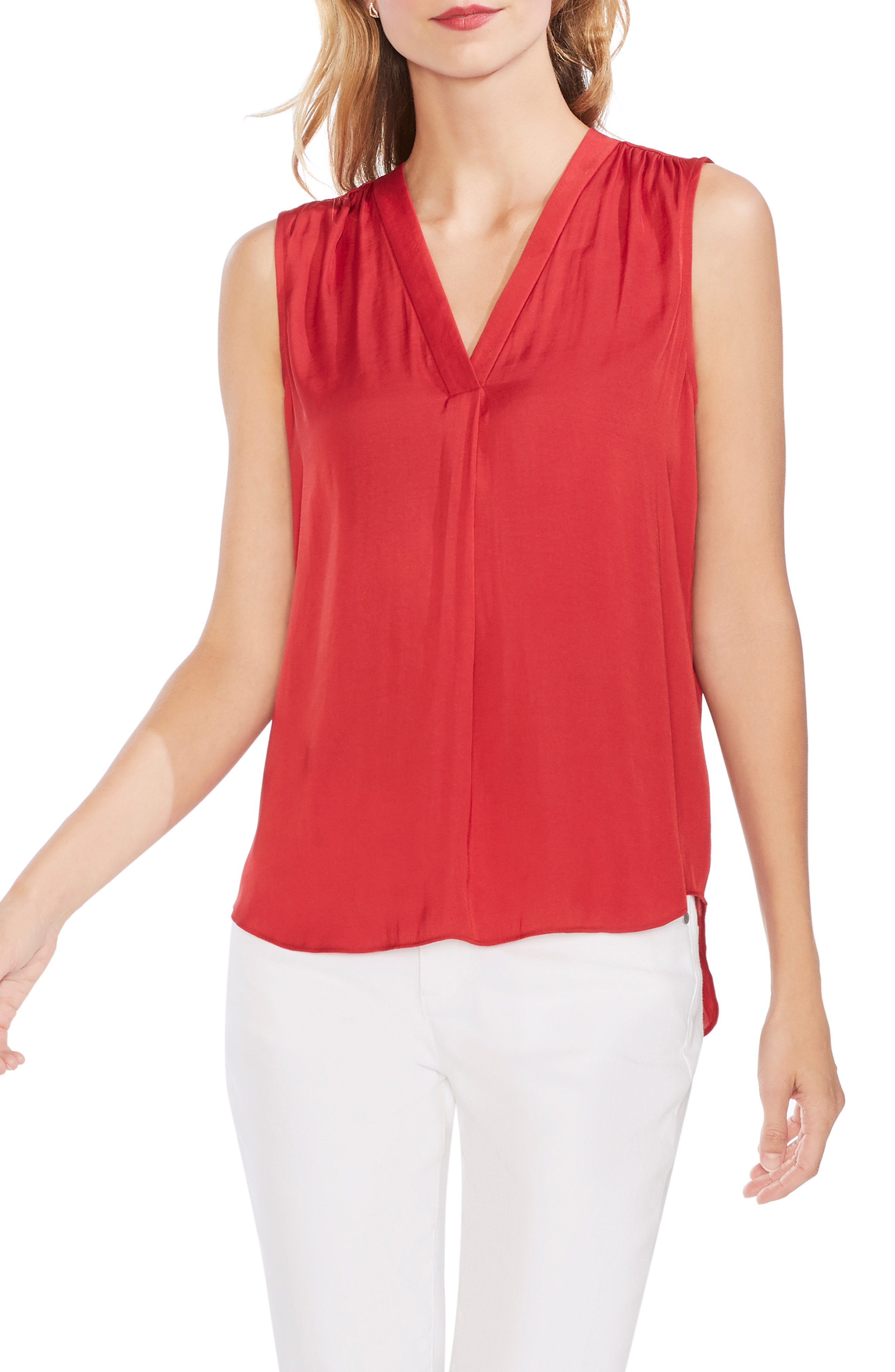 d48c27385 Vince Camuto Rumpled Satin Blouse In Coral Sunset | ModeSens