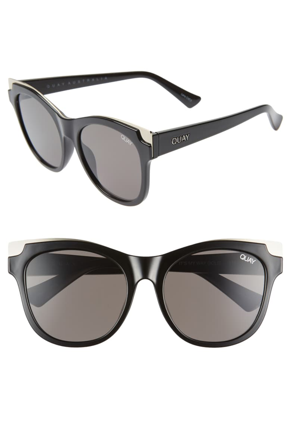 Quay It's My Way 56mm Cat Eye Sunglasses In Black Gold/ Smoke