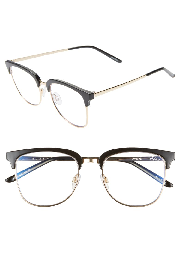 Quay Evasive 52mm Blue Light Blocking Glasses - Black/ Gold