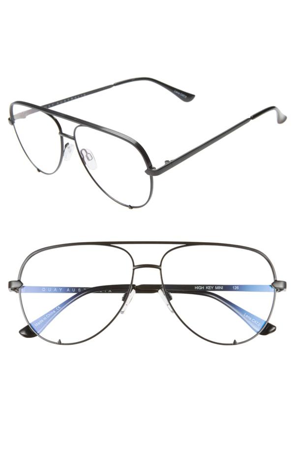 Quay High Key 58mm Blue Light Blocking Glasses In Black
