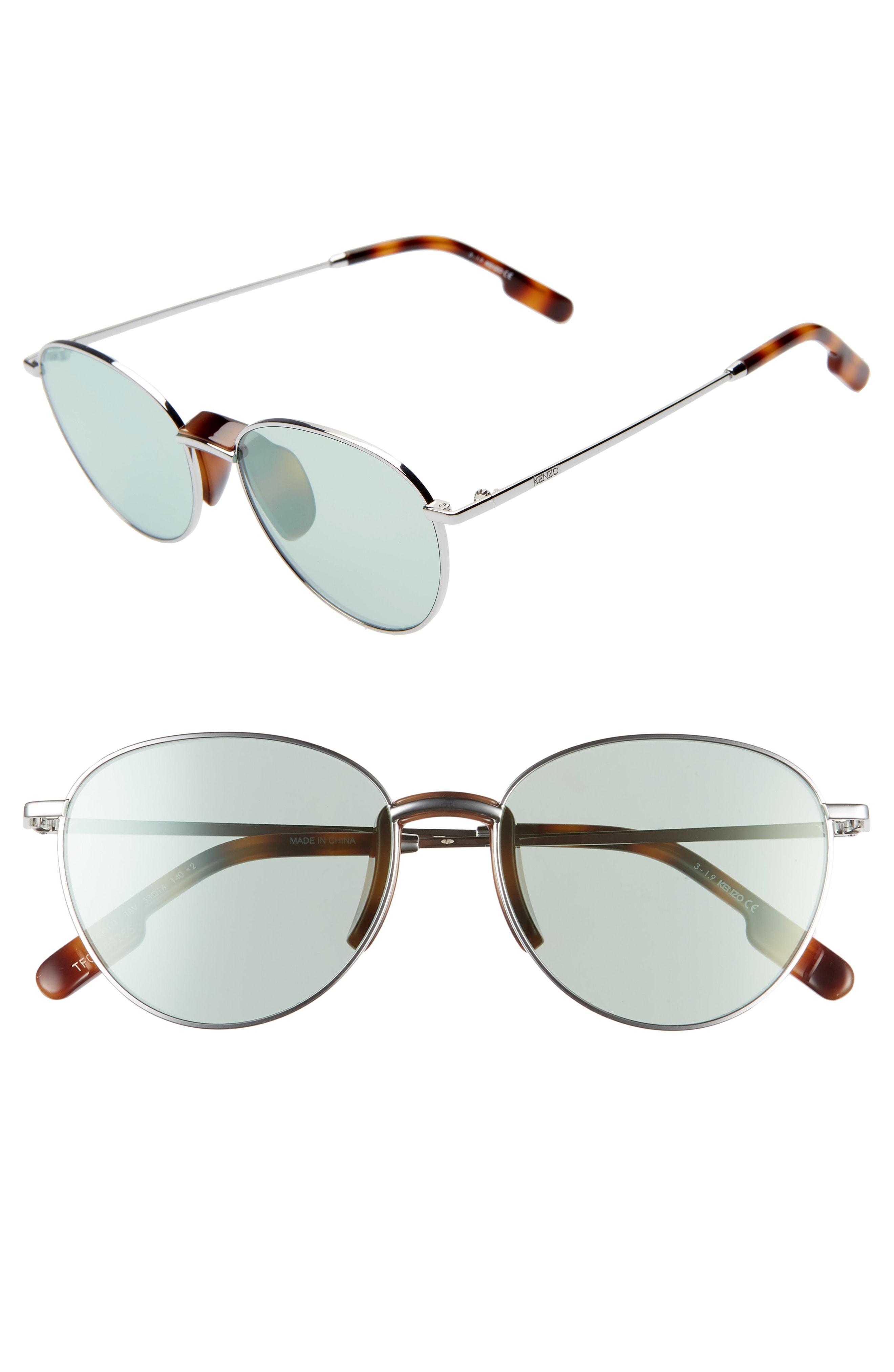 Kenzo 53mm International Fit Round Sunglasses - Shiny Rhodium/ Blue