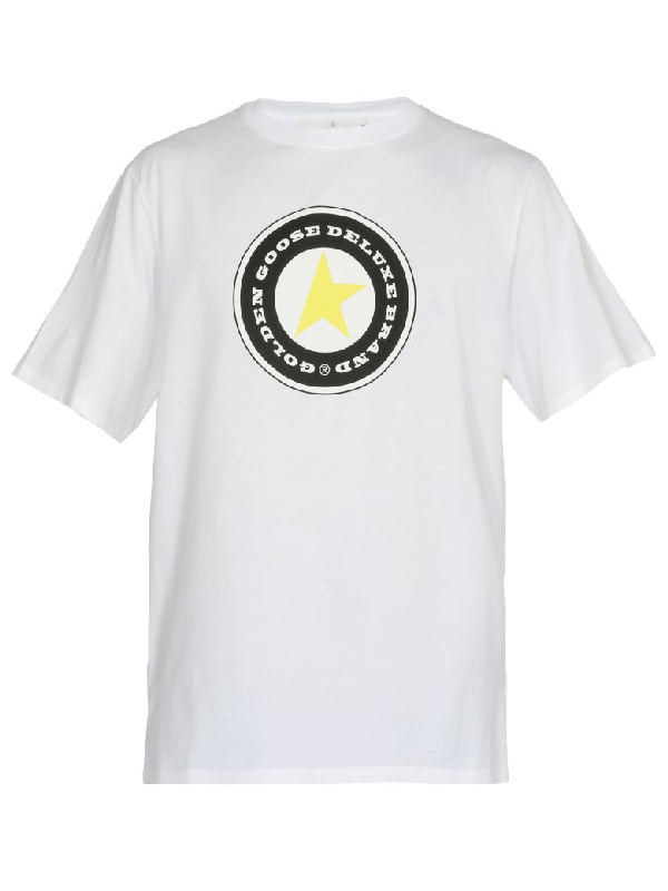 Golden Goose Cotton T-Shirt In White/Golden Star