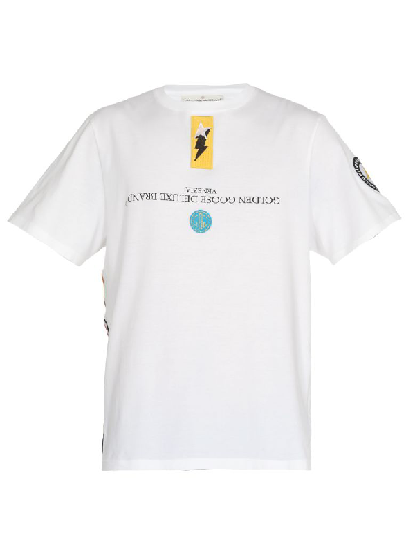 Golden Goose Cotton T-Shirt In White/Patch