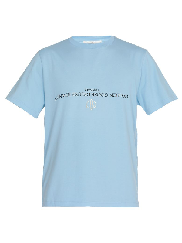 Golden Goose Cotton T-Shirt In Light Blue/Reversed Logo