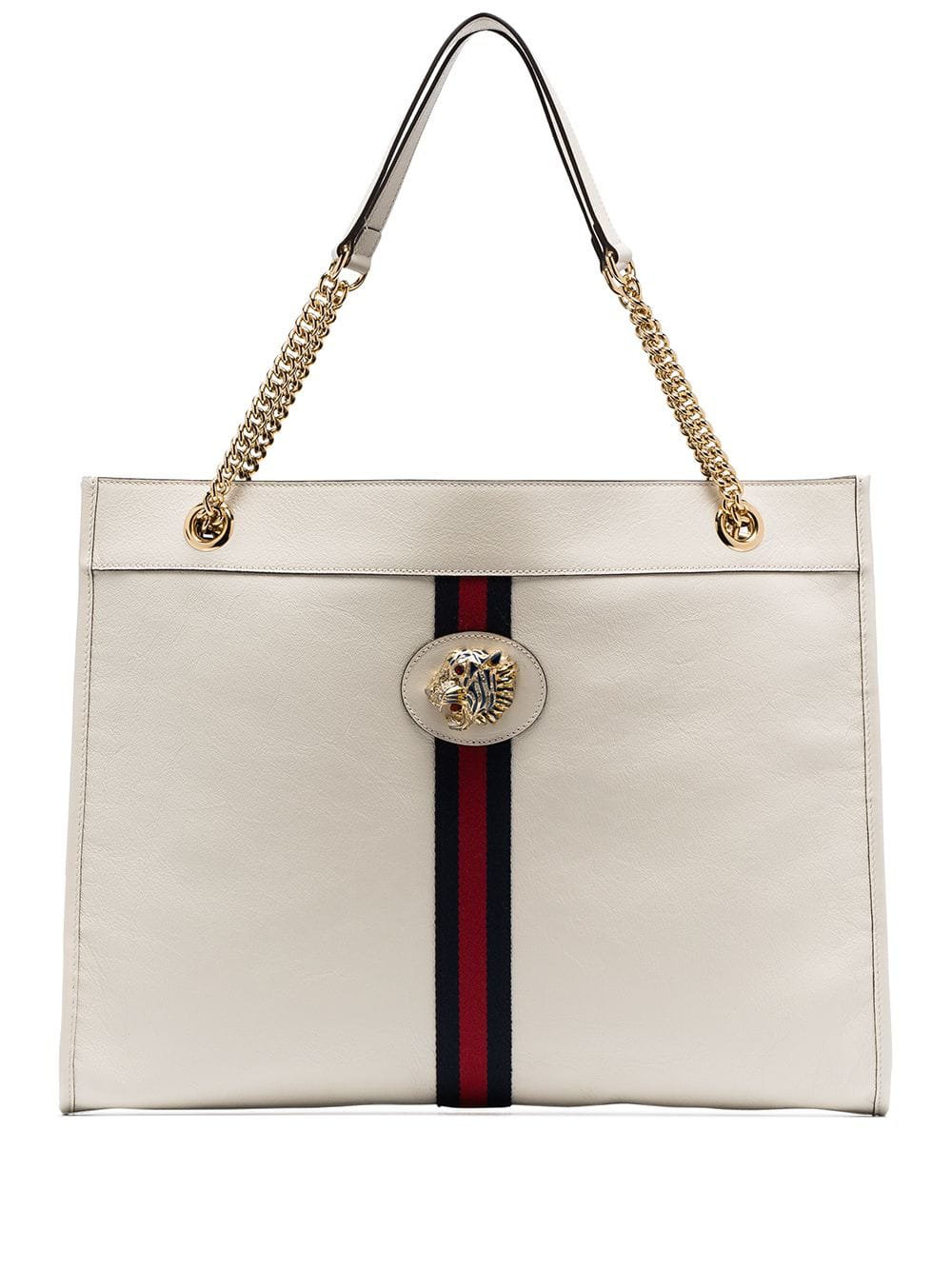 cb05ef18f71 Gucci White Rajah Tiger-Embellished Leather Tote Bag - Farfetch In Neutrals