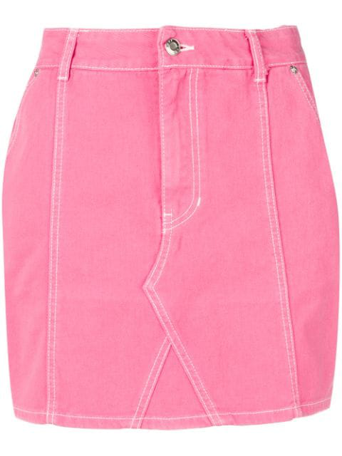 Sjyp Denim Mini Skirt In Pink