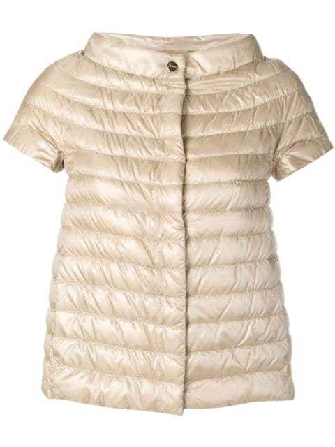 Herno Short-sleeve Feather Down Jacket In Neutrals
