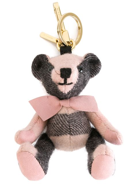 Burberry Thomas Bear Check Cashmere Bag Charm, Ash Rose In Pink