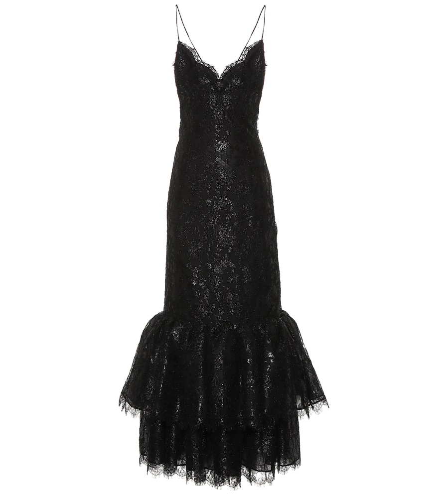 Alessandra Rich Lace Gown In Black