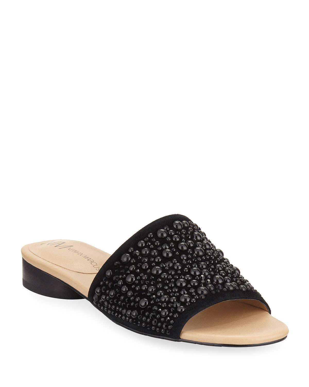 Neiman Marcus Blyno Embellished Suede Slide Sandals In ...