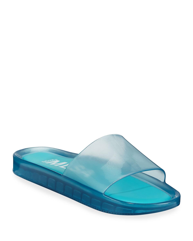 Melissa Beach Smooth Pool Slide Sandals In Blue