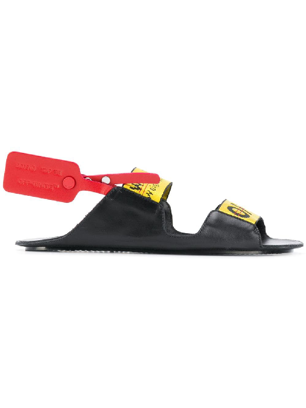 5d710d2bf2a9 Off-White Off White   Zip Tie Logo Sandals In Black Leather In 1000 Black