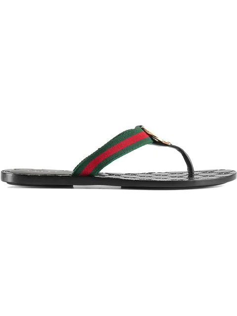 Gucci Leather & Nylon Thong Sandals In 8476 Green