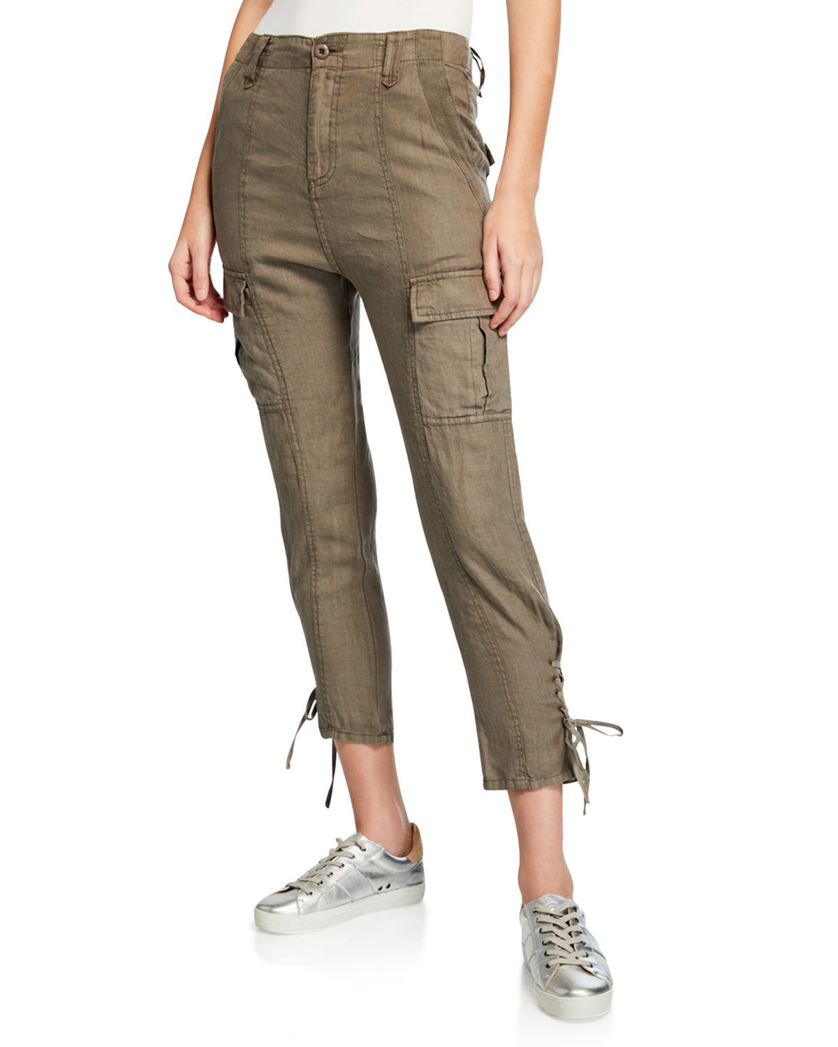 c2dbe01219f8ea Joie Telutci Cropped Linen Cargo Pants In White | ModeSens