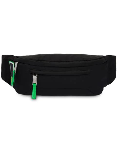 Prada Black Nylon Hip Bag With Rubber Logo