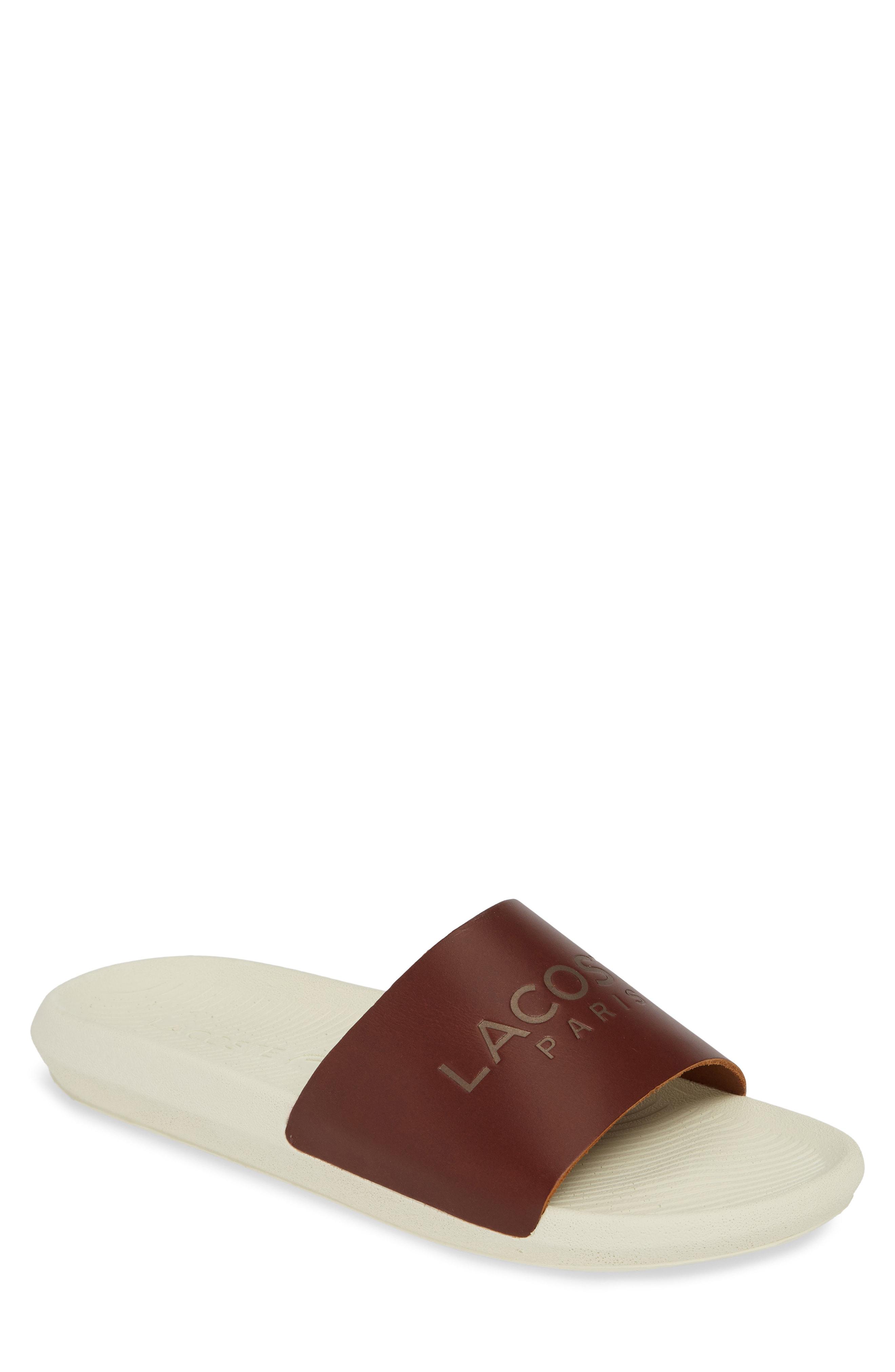 abba10355 Lacoste Croco Slide Sandal In Tan  Off White