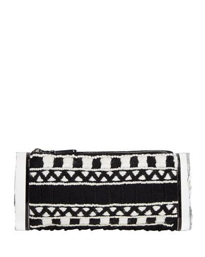 Edie Parker Soft Lara Embroidered Clutch Bag, Black/Multi In Black Multi