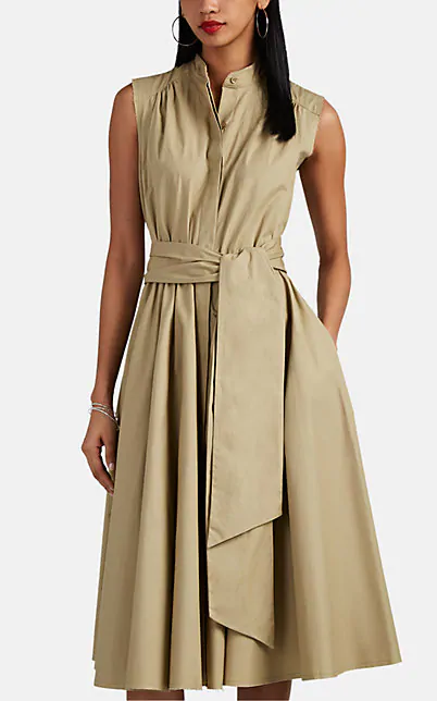 Barneys New York Pleated Cotton Poplin Belted Midi-Dress In Camel